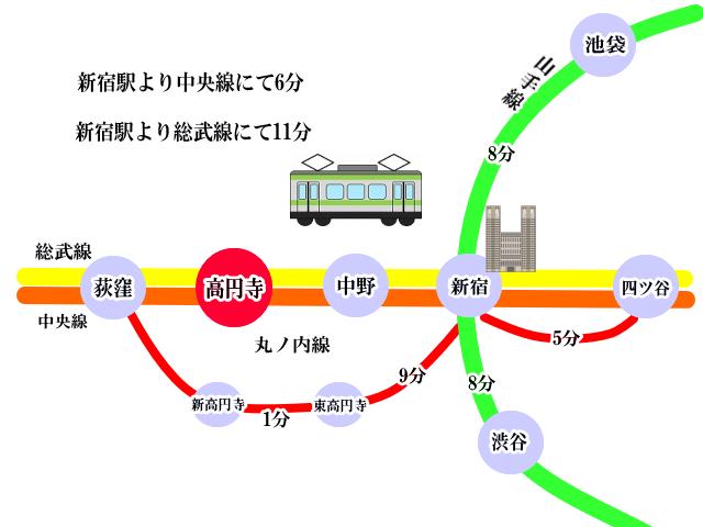 高円寺 アクセス マップ 地図 交通機関