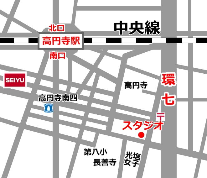 高円寺 バレエスタジオ フェニックスのアクセスマップ
